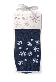 Snowflakes Wool Socks in gift packaging blue