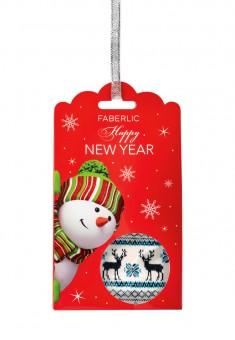 Носки из шерсти в новогодней упаковке  Олени молочные