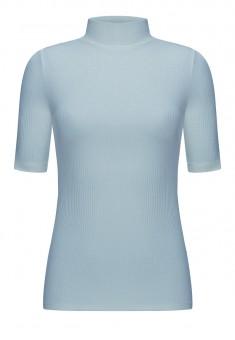 Short Sleeve Ribbed Jersey Turtleneck