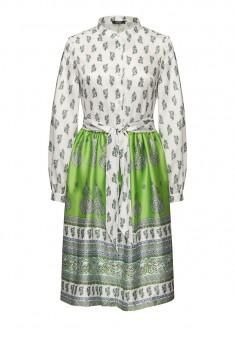 Платье с багетным принтом и поясом