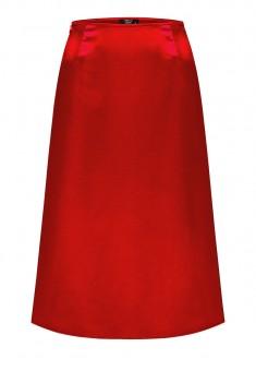 Сатинированная юбка цвет красный
