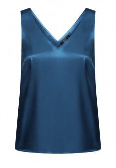 Сатениран топ цвят син