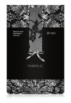 Floral Patterned Tights SF205 20 den black