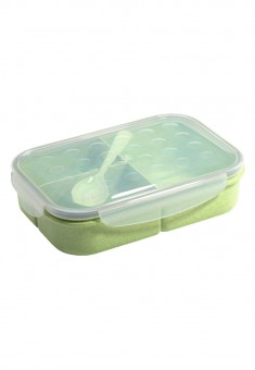 3Section Food Container with Spoon green