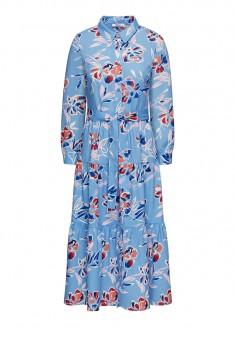 Платье с флоральным орнаментом и поясом мультицвет