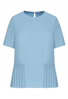 Блузка с плиссировкой цвет голубой