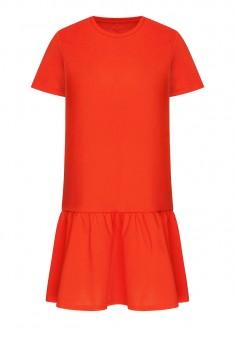 Трикотажное платье цвет коралловый