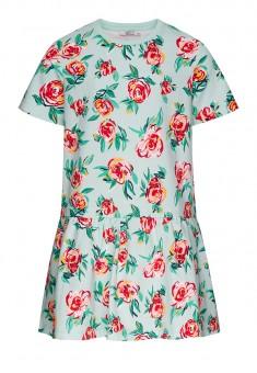 Платье из футера с флоральным принтом для девочки мультицвет