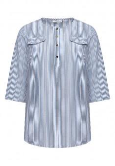 Блузка от бродиран памук на раета цвят син