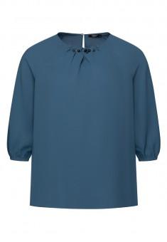 Блузка с мъниста цвят син