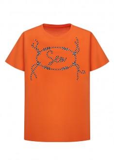 Тениска с морски принт цвят червенооранжев