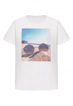 Тениска с пайети цвят бял