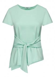 Трикотажная блузка с поясом цвет бирюзовый
