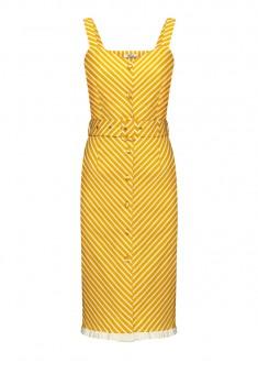 Платье с поясом в полоску цвет жёлтый