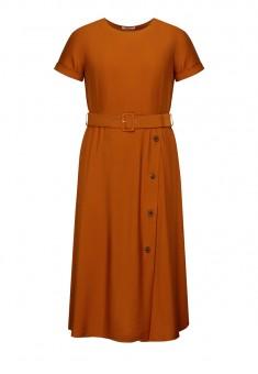 Длинное платье с поясом цвет коричневый