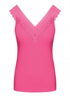 Womens Jersey Lace Top pink