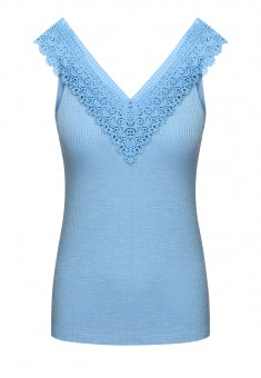 Womens Jersey Lace Top blue