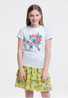 Girls Print Bow Tshirt white