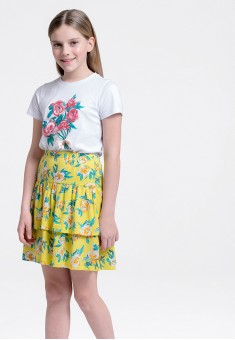 Girls Floral Jersey Skirt multicolor