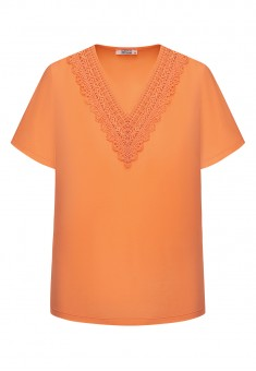 Womens Short Sleeve Lace Jumper peach