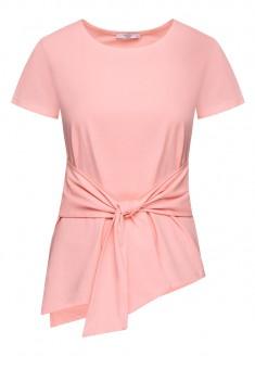 Трикотажная блузка с поясом цвет светлорозовый