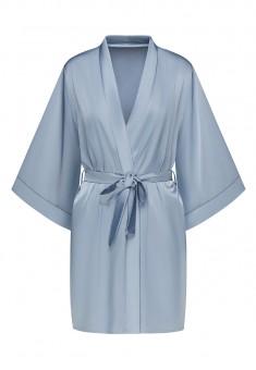 Satin Kimono Robe blue