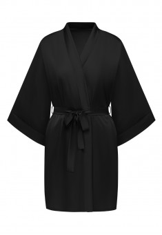 Satin Kimono Robe black