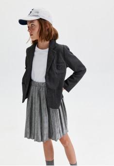 Трикотажная плиссированная юбка с узором гленчек для девочки