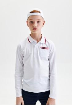 Boys Long Sleeve Jersey Polo Jumper white