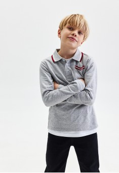 Boys Long Sleeve Jersey Polo Jumper grey melange