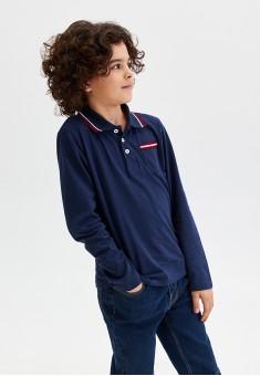 Boys Long Sleeve Jersey Polo Jumper dark blue