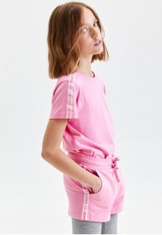 Шорты из футера с декоративной тесьмой для девочки