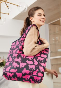Lovely Moments Funny Cats Foldable Bag pink