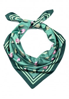 Sateen Square Scarf leaves multiprint