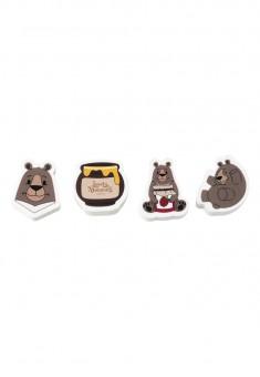 Набор ластиков Малиновые мишки коллекция Lovely moments 4 шт