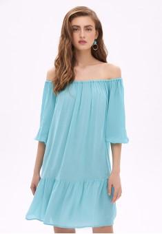 Платье с открытыми плечами цвет аквамарин