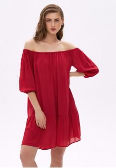 Платье с открытыми плечами цвет красный