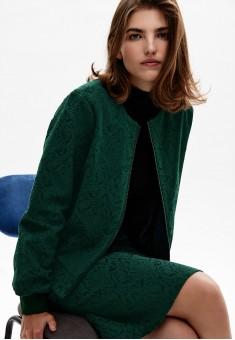 Бомбер из жаккарда цвет тёмнозелёный