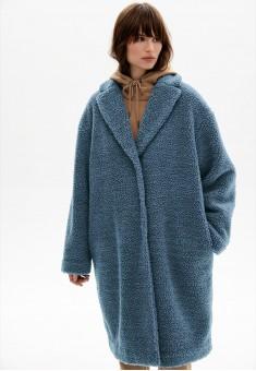 Пальто из букле цвет синий
