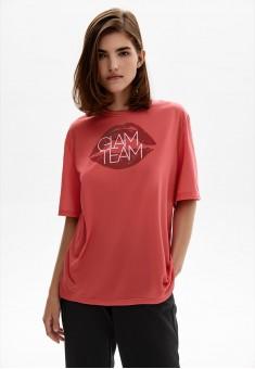 Легкий трикотажный джемпер с коротким рукавом для женщины цвет розовый