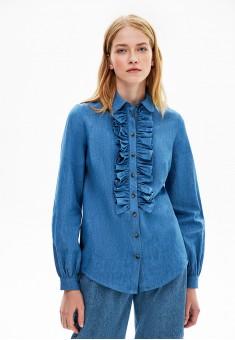 Блузка из шамбре цвет голубой