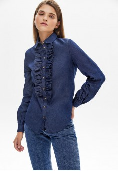 Блузка из шамбре цвет темносиний